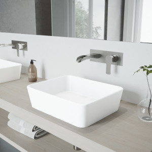 VIGO Marigold Matte Stone Vessel Bathroom Sink Set With Cornelius Wall Mount Bathroom Faucet In Brushed Nickel