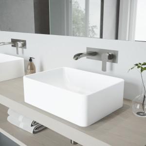 VIGO Amaryllis Matte Stone Vessel Bathroom Sink Set With Cornelius Wall Mount Bathroom Faucet In Brushed Nickel