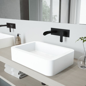 VIGO Petunia Matte Stone Vessel Bathroom Sink Set With Cornelius Wall Mount Bathroom Faucet In Matte Black