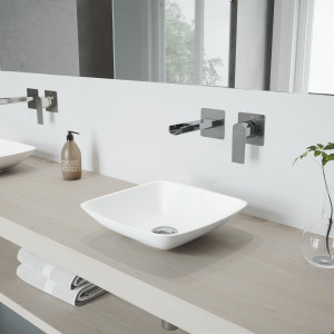 VIGO Hyacinth Matte Stone Vessel Bathroom Sink Set With Atticus Wall Mount Faucet In Chrome