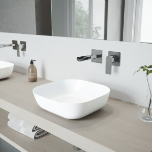 VIGO Camellia Matte Stone Vessel Bathroom Sink Set With Atticus Wall Mount Faucet In Chrome