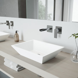 VIGO Vinca Matte Stone Vessel Bathroom Sink Set With Atticus Wall Mount Faucet In Chrome