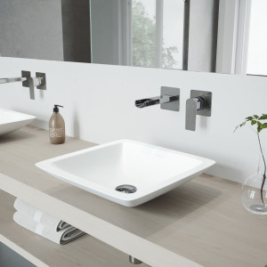VIGO Begonia Matte Stone Vessel Bathroom Sink Set With Atticus Wall Mount Faucet In Chrome