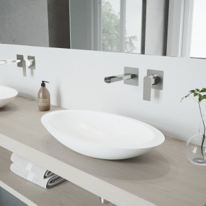 VIGO Wisteria Matte Stone Vessel Bathroom Sink Set With Atticus Wall Mount Faucet In Brushed Nickel