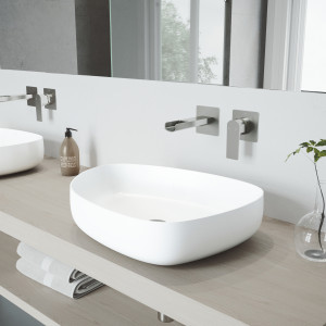 VIGO Peony Matte Stone Vessel Bathroom Sink Set With Atticus Wall Mount Faucet In Brushed Nickel