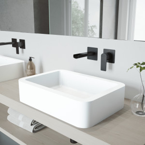 VIGO Petunia Matte Stone Vessel Bathroom Sink Set With Atticus Wall Mount Faucet In Matte Black