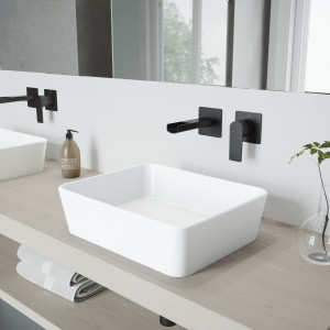 VIGO Marigold Matte Stone Vessel Bathroom Sink Set With Atticus Wall Mount Faucet In Matte Black