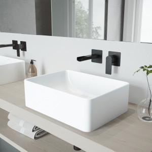 VIGO Amaryllis Matte Stone Vessel Bathroom Sink Set With Atticus Wall Mount Faucet In Matte Black