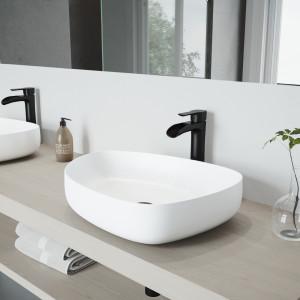 VIGO Peony Matte Stone Vessel Bathroom Sink Set With Niko Vessel Faucet In Matte Black