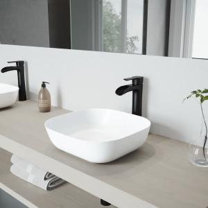VIGO Camellia Matte Stone Vessel Bathroom Sink Set With Niko Vessel Faucet In Matte Black