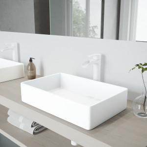 VIGO Magnolia Matte Stone Vessel Bathroom Sink Set With Niko Vessel Faucet In Matte White