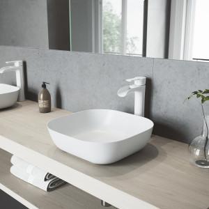 VIGO Camellia Matte Stone Vessel Bathroom Sink Set With Niko Vessel Faucet In Matte White