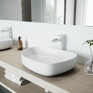 VIGO Peony Matte Stone Vessel Bathroom Sink Set With Niko Vessel Faucet In Matte White