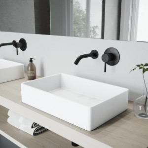 VIGO Magnolia Matte Stone Vessel Bathroom Sink Set With Olus Wall Mount Faucet In Matte Black