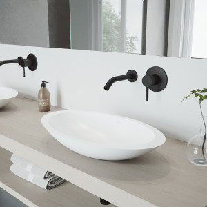 VIGO Wisteria Matte Stone Vessel Bathroom Sink Set With Olus Wall Mount Faucet In Matte Black