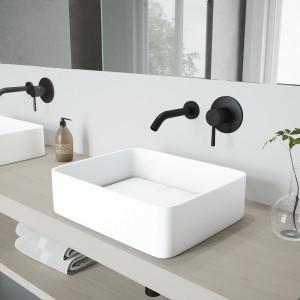 VIGO Jasmine Matte Stone Vessel Bathroom Sink Set With Olus Wall Mount Faucet In Matte Black