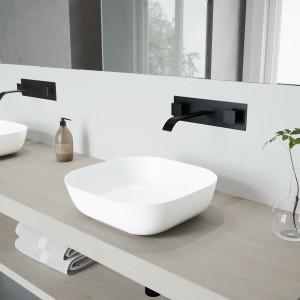 VIGO Camellia Matte Stone Vessel Bathroom Sink Set With Titus Wall Mount Faucet In Matte Black