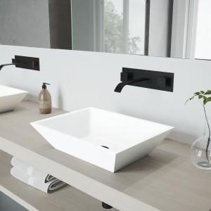 VIGO Vinca Matte Stone Vessel Bathroom Sink Set With Titus Wall Mount Faucet In Matte Black