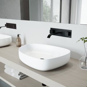VIGO Peony Matte Stone Vessel Bathroom Sink Set With Titus Wall Mount Faucet In Matte Black