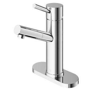 VIGO Noma Single Hole Bathroom Faucet With Deck Plate