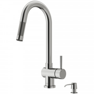 VIGO Gramercy Pull-Down Kitchen Faucet With Soap Dispenser