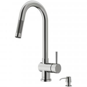 VIGO Gramercy Pull-Down Kitchen Faucet With Soap Dispenser