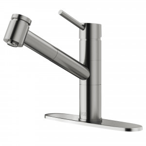 VIGO Branson Pull-Out Spray Kitchen Faucet With Deck Plate In Stainless Steel