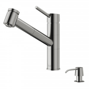 VIGO Branson Pull-Out Spray Kitchen Faucet With Soap Dispenser