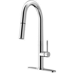 VIGO Greenwich Pull-Down Spray Kitchen Faucet With Deck Plate