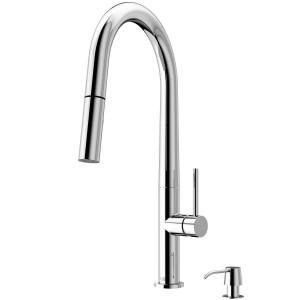 VIGO Greenwich Pull-Down Spray Kitchen Faucet With Soap Dispenser