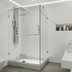 VIGO Monteray Frameless Shower Enclosure With Left Drain Base