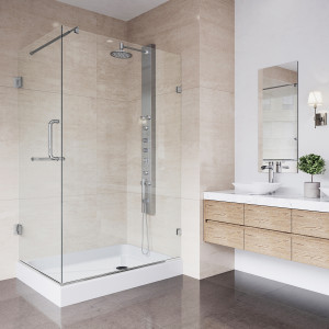 VIGO Pacifica Frameless Shower Enclosure With Left Sided Opening And Base