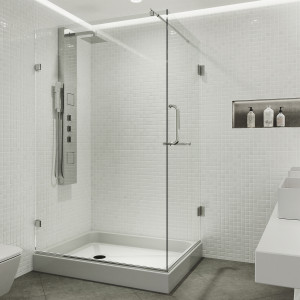 VIGO Pacifica Frameless Shower Enclosure With Right Sided Opening And Base