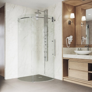 VIGO Sanibel Frameless Round Sliding Door Shower Enclosure With Right-Sided Opening
