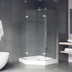 VIGO Gemini Frameless Neo-Angle Shower Enclosure With Base