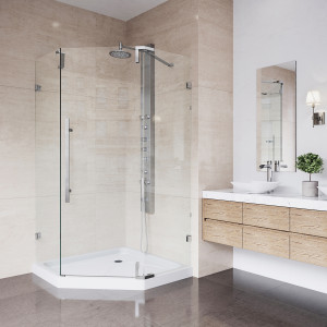 VIGO Ontario Frameless Neo-Angle Shower Enclosure With Low-Profile Base