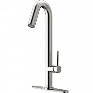 VIGO Oakhurst LED Pull-Down Kitchen Faucet With Deck Plate In Stainless Steel