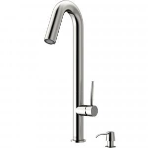 VIGO Oakhurst LED Pull-Down Kitchen Faucet With Soap Dispenser In Stainless Steel