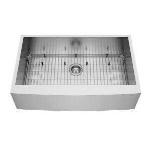 "VIGO 36"" Camden Stainless Steel Farmhouse Kitchen Sink, With Grid And Strainer"