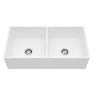 """VIGO 36"""" Casement Front Matte Stone Double Bowl Farmhouse Kitchen Sink"""