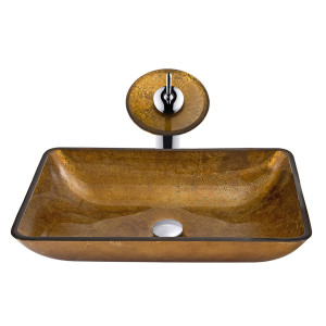 VIGO Rectangular Copper Glass Vessel Bathroom Sink And Waterfall Faucet Set