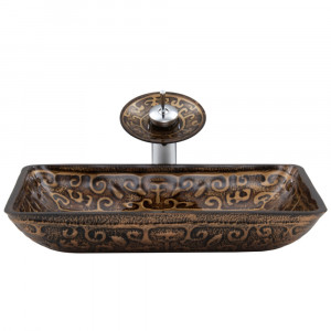 VIGO Rectangular Golden Greek Glass Vessel Bathroom Sink And Waterfall Faucet Set