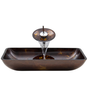 VIGO Rectangular Brown And Gold Fusion Glass Vessel Bathroom Sink And Waterfall Faucet Set