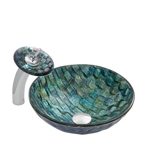 Oceania Glass Vessel Sink and Waterfall Faucet Set