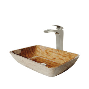 "VIGO 18"" Rectangular Amber Sunset Glass Vessel Bathroom Sink Set With Blackstonian Vessel Faucet In Brushed Nickel"