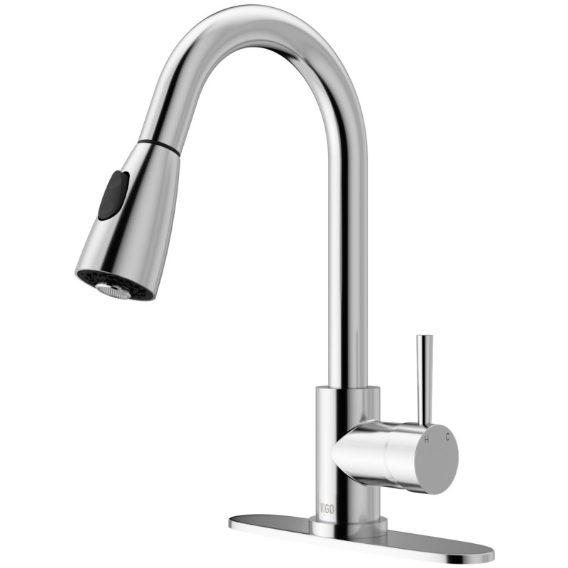 Vigo Weston Pull Down Spray Kitchen Faucet With Deck Plate In Chrome