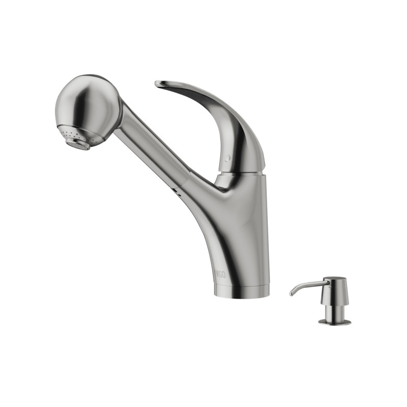 Vigo Alexander Pull Out Spray Kitchen Faucet With Soap Dispenser
