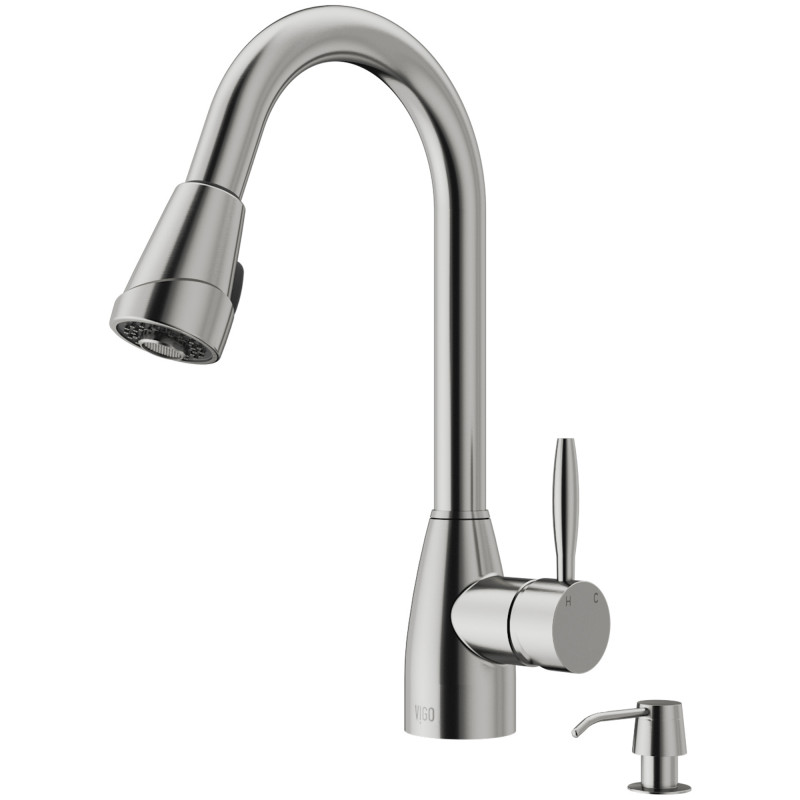 VIGO Graham Pull-Down Spray Kitchen Faucet With Soap ...