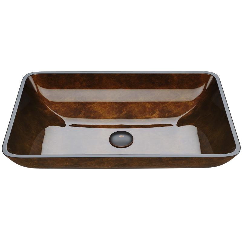 Vigo 22 12 Rectangular Russet Glass Vessel Bathroom Sink