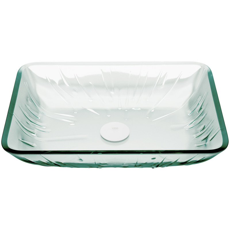 Vigo Rectangular Icicles Glass Vessel, Rectangular Vessel Bathroom Sink